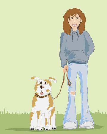 untidy: hand drawn illustration of a scruffy girl wth her dog on some grass with a pale green background Illustration