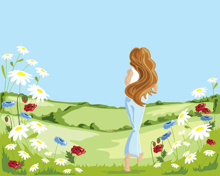 a hand drawn illustration of a woman running through a flower meadow in summer with a beautiful blue sky Stock Vector - 6864839