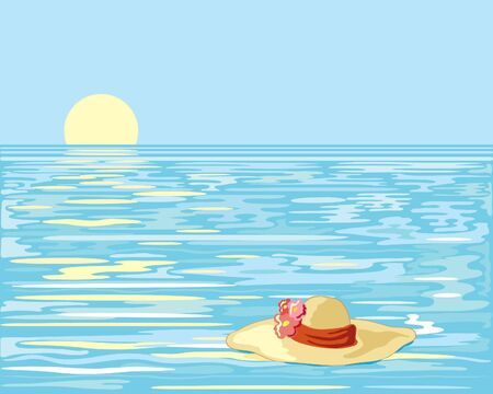 a hand drawn illustration of a straw hat with flowers floating on an ocean with a yellow sun going down in a clear blue sky Stock Vector - 6864842