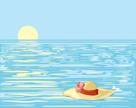 sombrero de paja: una mano dibuja la ilustraci�n de un sombrero de paja con flores flotando en un oc�ano con un sol amarillo, bajando en un cielo azul claro