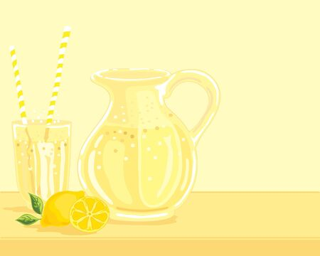 zest: a hand drawn illustration of a jug of lemonade with a full glass and some lemons on a pale yellow background