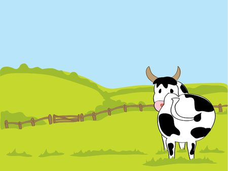 a hand drawn illustration of a black and white cow in a field with hills and a fence and a blue sky Stock Vector - 6864860