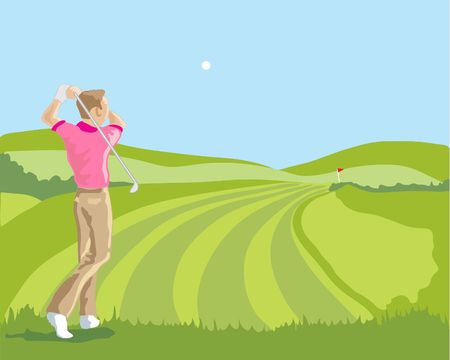a hand drawn illustration of a golfer in the middle of a drive down the fairway Vector
