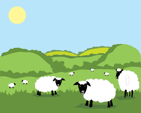 a hand drawn illustration of a beautiful landscape dotted with sheep under a sunny blue sky