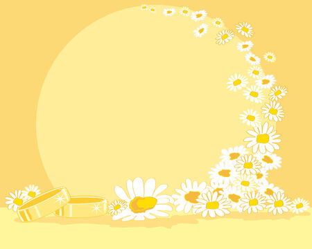 a hand drawn illustration of two wedding rings with daisies on a yellow background