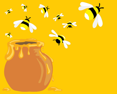 a hand drawn illustration of a group of honey bees flying over a pot dripping with honey