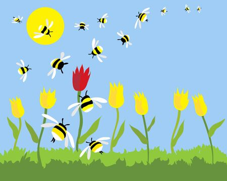 tulips in green grass: a hand drawn illustration of a group of bees swarming to the only red tulip on a beautiful sunny day