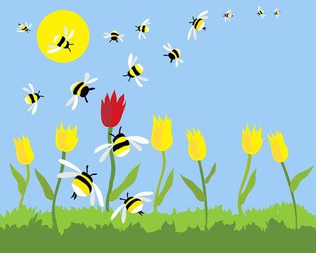 wesp: een hand getekend illustratie van een groep op een mooie zonnige dag om het alleen rode tulip zwermen bijen