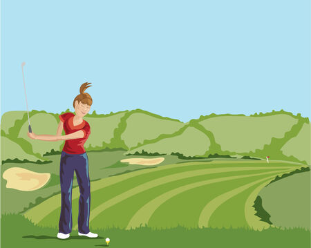 hedgerows: a hand drawn illustration of a lady golfer teeing off on a beautiful sunny golf course