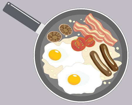 bacon: an illustration of a large pan with a breakfast of eggs mushrooms tomatoes bacon and sausage frying in oil Illustration