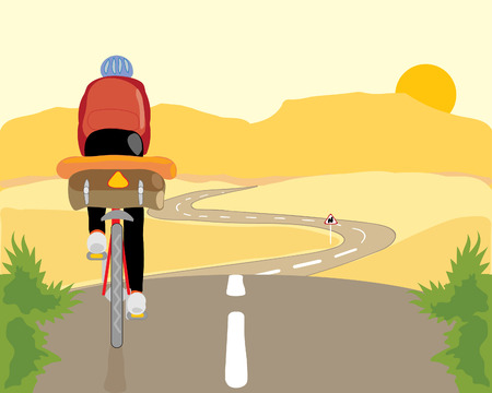 a cyclist travelling through scenic countryside with a long road mountains and a yellow sun Vector
