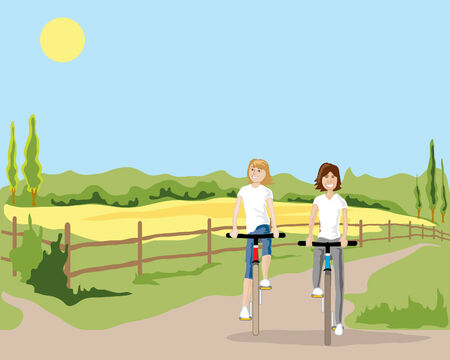 an illustration of two women cycling along a cycle path in the countryside in summer under a blue sky Illustration