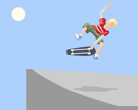 skate park: a hand drawn illustration of a young boy skate boarding up a ramp in a skate park under a blue sky