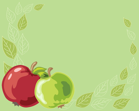 pale green: a hand drawn illustration of two brightly colored apples with a leaf design on a pale green background
