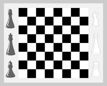 art piece: a hand drawn illustration of a chess board with pieces in black and white on a pale gray background Illustration