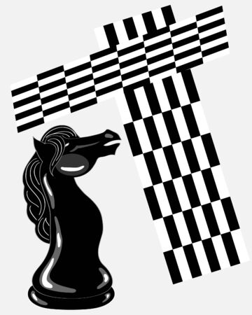 a hand drawn illustration of the knight chess piece with black and white boards on a gray background Vector