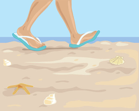 flip flops: a hand drawn illustration of some feet in flip flops walking along a sandy beach with sea and blue sky