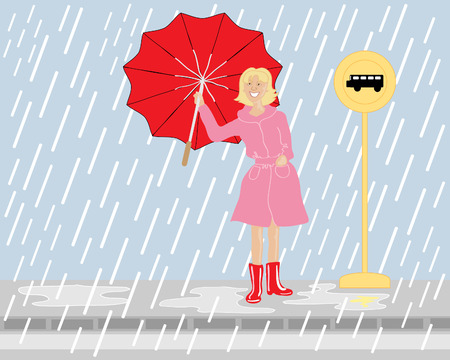 pavement: a hand drawn illustration of a woman waiting at a bus stop near a road in the rain with a bright red umbrella