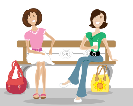 two women talking: a hand drawn illustration of two women sat on a bench in town talking to each other on a white background Illustration