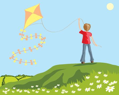 een hand getekende illustratie van een jonge jongen, een vlieger vliegen op een heuvel met madeliefjes en een groene landschap  Stock Illustratie