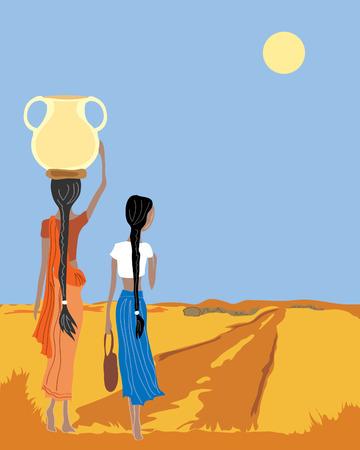 een hand getekende afbeelding van twee vrouwen thuis een dorp een draag water lopen en praten met een blauwe lucht en de gele zon