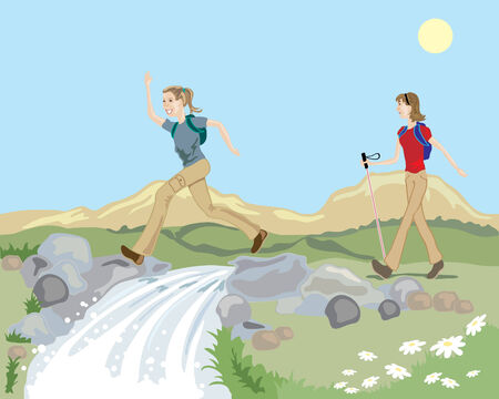 hiking trail: a hand drawn illustration of a hilly landsape with a mountain stream and two women enjoying a hike in the countryside under a blue sky