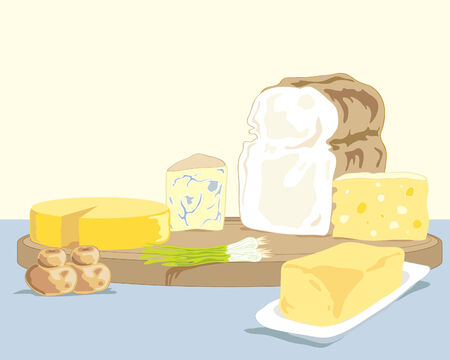 pale yellow: a hand drawn illustration of a selection of different cheeses a loaf of bread some bread buns and a dish of butter on a pale yellow background