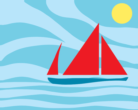 a hand drawn illustration of a brightly colored sailing boat with an abstract sea and sky Vector