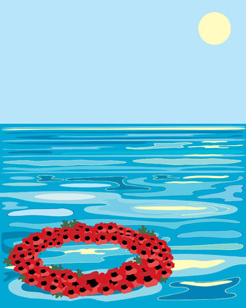 a hand drawn illustration of a poppy wreath floating on a colorful sea Stock Vector - 7134063