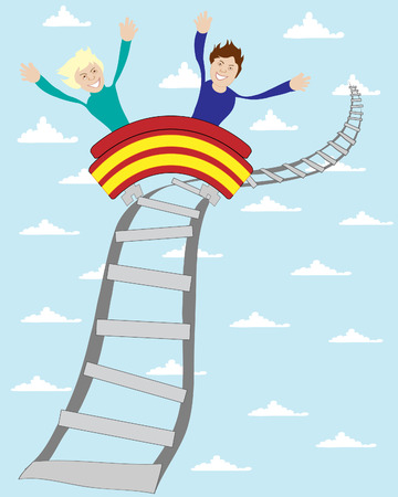 fairground: a hand drawn illustration of a roller coaster with two people in a carriage under a cloudy sky