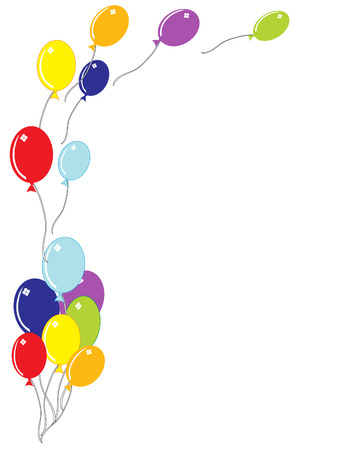 an illustration of a group of balloons floating away on a white background