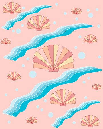 cockle: abstract vector background illustration of cockle shells and waves on pink background