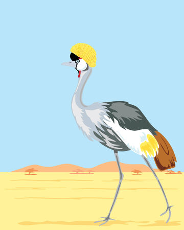 a hand drawn illustration of a colorful crowned crane walking in a hot landscape with mountains and a blue sky Vector