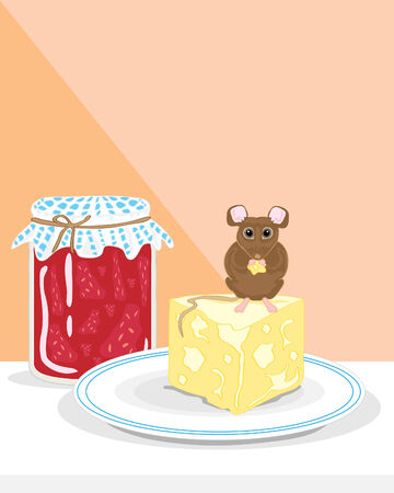 a hand drawn illustration of a house mouse eating cheese on a kitchen table with pot of jam and two tone orange background Vector