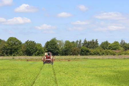 crop sprayer: a red crop sprayer at work in a field of wheat with trees and a cloudy blue sky Stock Photo