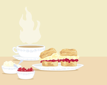 a hand drawn illustration of a cup of tea with two scones on a plate and a bowl of clotted cream and a bowl of jam
