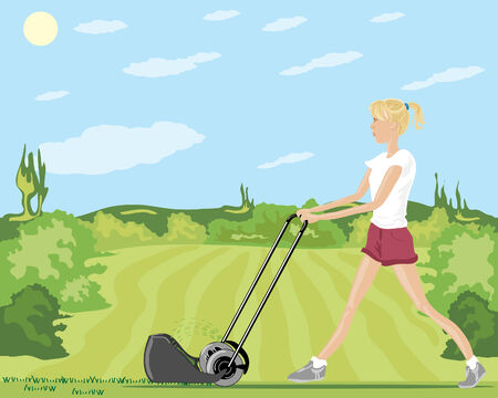 mowing the lawn: a hand drawn illustration of a woman mowing a lawn in summer with shrubs and trees under a blue sky