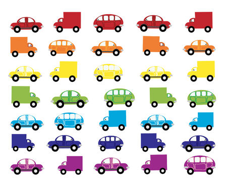 a hand drawn illustration of traffic in various shapes sizes and colors Stock Vector - 7304454