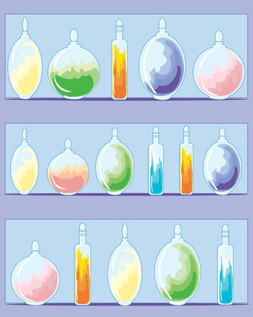 three shelves: an illustration of three shelves of multi colored magic medicines in different shaped bottles on a purple background Illustration
