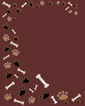 a hand drawn illustration of paw prints and bones on a dark background Stock Vector - 7304450