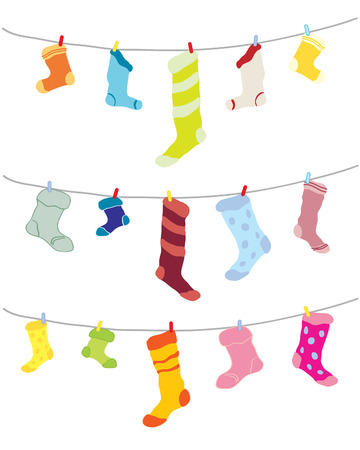 pegs: a hand drawn illustration of odd socks hanging on a washing line in different colors