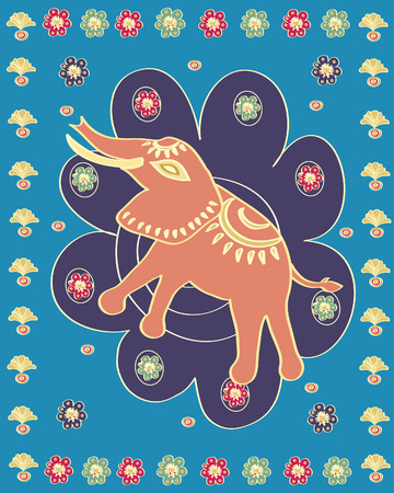flowered: asian stylised illustration of a ceremonial elephant on a flowered background