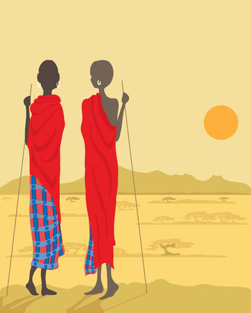 a hand drawn illustration of two masai men looking out over the plains towards mountains in the distance under the setting sun Vector