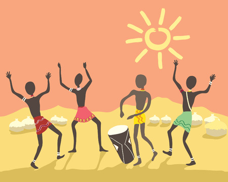 una mano dibuja ilustración de colorido pueblo africano bailando en un pueblo bajo un cielo brillante