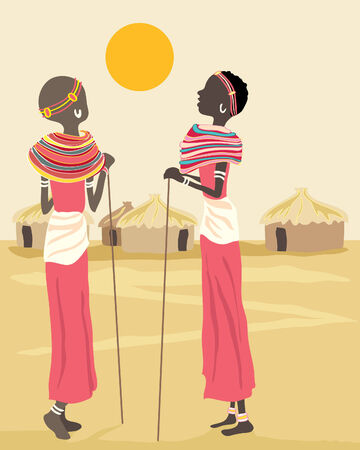 tribe: a hand drawn illustration of two african women chatting in a village as sun sets Illustration