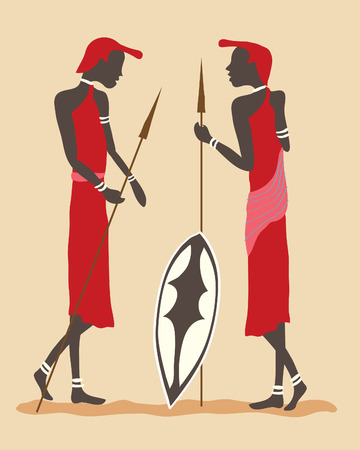 a hand drawn illustration of two masai warriors in tribal dress with spears and shield