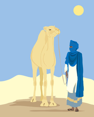 headgear: a hand drawn illustration of a toureg man with a camel in the desert in africa under a blue sky