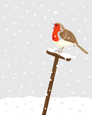 robin: a hand drawn illustration of a robin sitting on a spade handle with snow falling in the background Illustration
