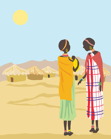 masai: a hand drawn illustration of two masai women and baby in brightly colored clothes in a village