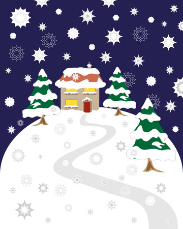 a hand drawn illustration of a house on a hill with trees covered in snow on christmas eve with a dark sky and snowflakes Vector